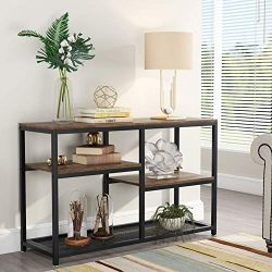 Tribesigns 47 Inch Rustic Console Table, 4-Tier Vintage Sofa Entryway Table TV Stand with Net St ...
