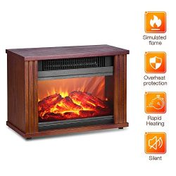 Electric Fireplace Heater – 1200W Infrared Heater with 3D Flames Effect, 250 Sq Ft Coverag ...