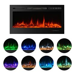 BEAMNOVA 40 Inch Electric Fireplace Black Freestanding Heater Insert Wall Mounted with Remote