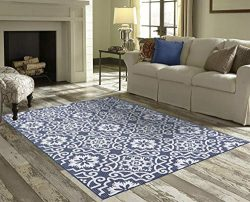 Priyate Florida Collection – All Weather Indoor/Outdoor Moro Tile Rug for Living Room, Bed ...