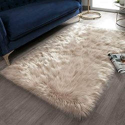 Ashler Soft Faux Rectangle Fur Chair Couch Cover Beige Area Rug for Bedroom Floor Sofa Living Ro ...