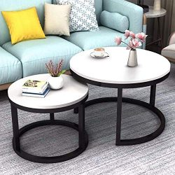 JERRY & MAGGIE – 2 Round Tea Table Coffee Table Desk Sets | White – Twin Sets Mu ...
