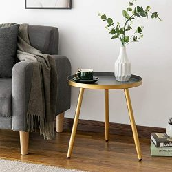 Round Side Table, Metal End Table, Nightstand/Small Tables for Living Room, Accent Tables, Side  ...
