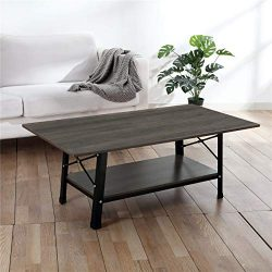 Coffee Table – CrazyLynX 46″ Industrial Cocktail End Table with Storage Shelf, Solid ...