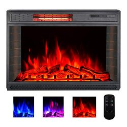 YODOLLA 28″ Electric Fireplace Insert, Infrad Quartz Heating Christmas Electric Fireplace  ...