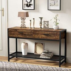 Tribesigns Rustic Sofa Table with Drawers, 47 inch Industrial Console Table Entry Table TV Stand ...