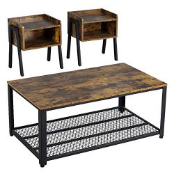 Yaheetech Industrial Living Room 3-Piece Table Sets – Includes Coffee Table & Two End  ...