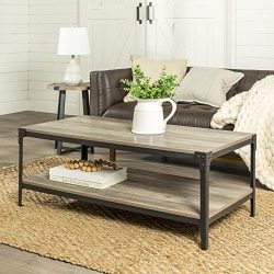WE Furniture Rustic Farmhouse Coffee Accent Table Living Room, Grey Wash