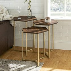 WE Furniture Modern Hexagon Nesting Side End Table Set Living Room, Set Of 3, Walnut Brown, Gold