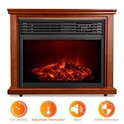 Electric Fireplace Heater with Remote – 1500W Infrared Heater with 3D Flames Effect, 800 S ...
