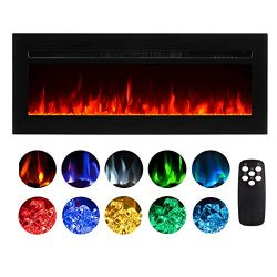 50 Inch Electric Fireplace Recessed Insert Wall Mounted Fireplace Heater with Remote Control Adj ...