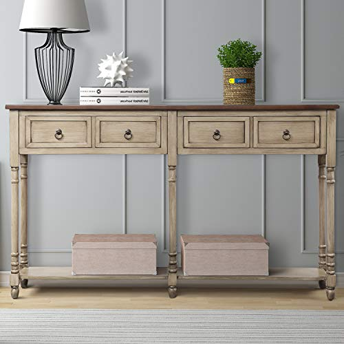 ALI VIRGO Console Sofa Table with Storage Solid Wood Desk for Entryway with Drawers and Shelf Re ...