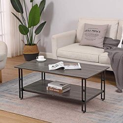 Cocktail Coffee Table Vintage Grey with Storage Shelf – Bizzoelife 42 Inches Industrial Te ...