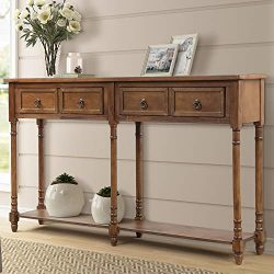 P PURLOVE Console Table Entryway Table with Drawers Sofa Table with 2 Drawers and Long Shelf (Re ...