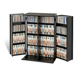 BS Multimedia Storage Cabinet Armoire CD DVD Rack Tower Video Media Shelf Organizer Lockable Sto ...