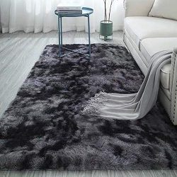 Ultra Soft Rectangle Area Rugs Fluffy Motley Tie-dye Carpets for Living Room Grey 4 x 6.6ft