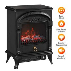 TONGLUBAO Electric Fireplace Stove Freestanding Fireplace Heater Indoor Portable Space Heater wi ...