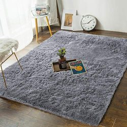 Soft Bedroom Rugs – 4′ x 5.3′ Shaggy Floor Area Rug for Living Room Kids Room  ...