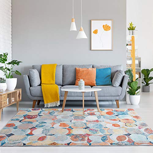 Decomall Waltz Geometric Cirlces Abstract Modern Contemporary Multicolor Area Rug for Living Roo ...