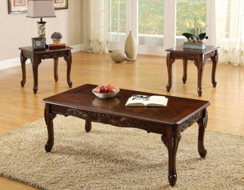 Furniture of America 3-Piece Chesapeke Table Set, Cherry Finish