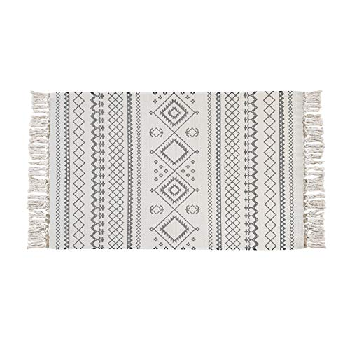 USTIDE Cotton Tassel Rug 2X3 Bohemian Bathroom Rug, Grey Kitchen Mat, Hand Woven Cotton Area Rug ...