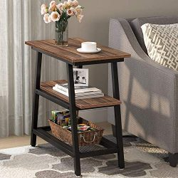 Industrial End Table, Tribesigns 3-Tier Vintage Bed Side Table Night Stand with Metal Mesh Stora ...