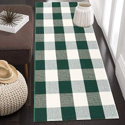 "Cotton Buffalo Plaid Rug 24"" x 51"", KIMODE Green/White Hand-Woven Checkered Welcome  ..."