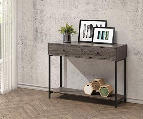 Weathered Grey Finish Accent Console Sofa Table Lower Shelf with Two Drawers