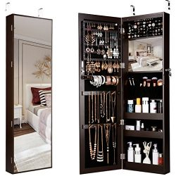 LANGRIA 10 LEDs Wall Door Mounted Jewelry Armoire Full-Length Mirror Cabinet Organizer with Spac ...