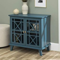 WE Furniture Accent Buffet Storage Cabinet with Doors Entryway Kitchen Living Room, 32 Inch, Blue