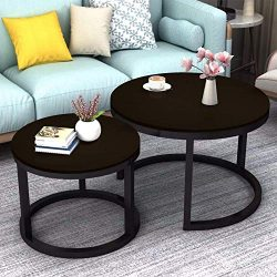 Jerry & Maggie – 2 Round Tea Table Coffee Table Desk Sets | Jet Black – Twin Set ...
