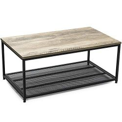 Ballucci Vintage Coffee Table, 2-Tier Cocktail with Storage Shelf, Wood Look Accent Furniture wi ...
