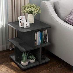 Tribesigns Modern Side End Table for Living Room, 3 Tier Bedside Table Night Stand with Wheels a ...
