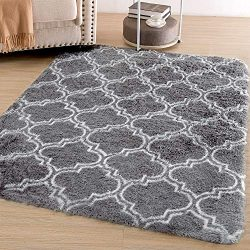 Amangel Super Soft Cozy Bedroom Area Rugs – 4′ x 5.3′ Shaggy Fluffy High Pile  ...