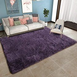 YOH Soft Modern Shag Area Rugs Fluffy Shaggy Area Shag Rugs for Bedroom Living Room Cute Plush F ...