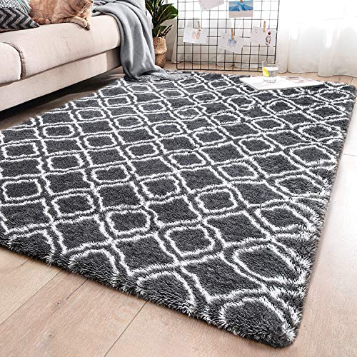 YJ.GWL Soft Indoor Large Modern Area Rugs Shaggy Patterned Fluffy Carpets Suitable for Living Ro ...