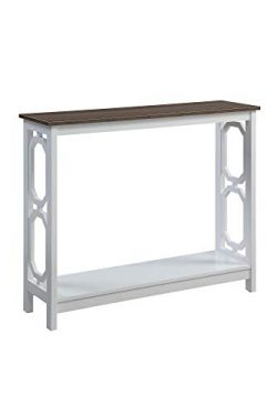 Convenience Concepts Omega Console Table, Driftwood Top/White Frame