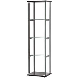 BOWERY HILL 4 Shelf Glass Curio Cabinet in Black
