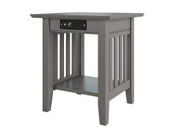Atlantic Furniture Mission End Table with Charging Station, Grey