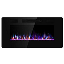 Xbeauty 36 inch Wall Mounted Recessed Electric Fireplace Insert, Ultra-Thin Lightweight LED Fire ...
