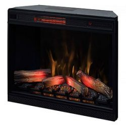 ClassicFlame 33″ 3D Infrared Quartz Electric Fireplace Insert with Safer Plug and Safer Se ...