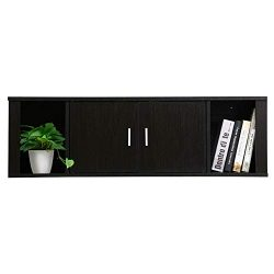 Yaheetech Floating Wall Mounted TV Media Console Desk Hutch Storage Shelves Home Office Organize ...