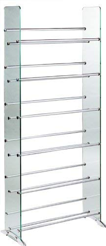 TransDeco Glass Multimedia CD/DVD Rack, Clear/Silver