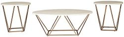 Signature Design by Ashley – Tarica Occasional Coffee Table Set of 3, White/Gold