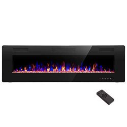 R.W.FLAME 60 inch Recessed and Wall Mounted Electric Fireplace, Fit for 2 x 6 Stud, Remote Contr ...