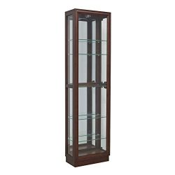 Pulaski  Side Entry Curio Display Cabinet, 21.0″ L x 11.0″ W x 77.0″ H, Cherry