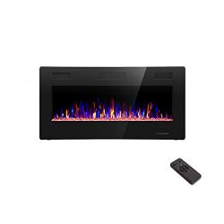 R.W.FLAME 36 inch Recessed and Wall Mounted Electric Fireplace, Fit for 2 x 4 and 2 x 6 Stud, Re ...