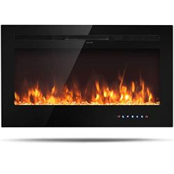 Tangkula 36″ Electric Fireplace, in-Wall Recessed and Wall Mounted 750W/1500W, Fireplace H ...