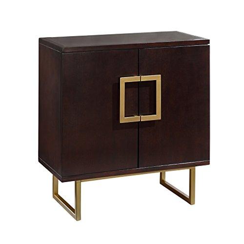 Madison Park Lexnnox Storage Chest – Dark Cherry Wood, Metal Living Room Storage – D ...