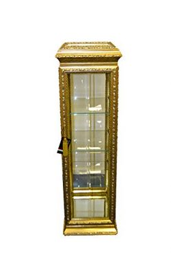 (D) Antique Gold Curio Cabinet, Display Case, Home Storage 64 Inches